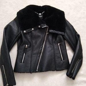 Moto/biker cropped jacket faux leather faux fur